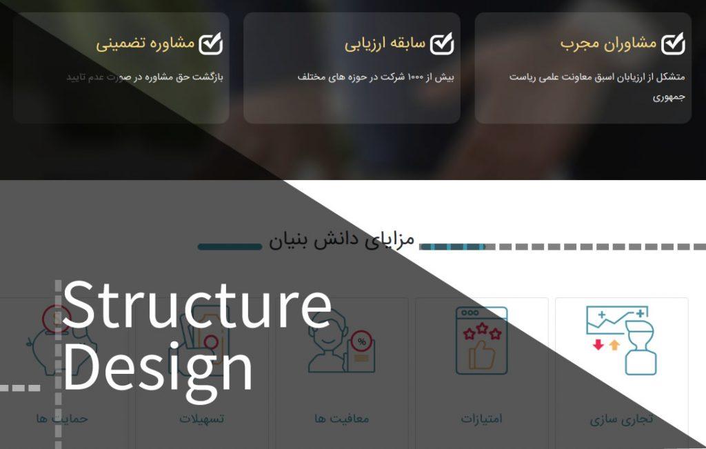 طراحی ساختار سایت دانش بنیان